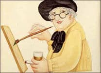 Painting of Beryl Cook painting